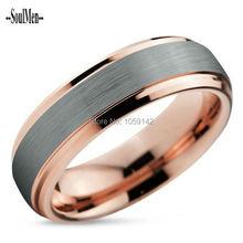 Mens Wedding Band Tungsteno Anillo Rosado de Dos Tonos 6mm Cepillado plata con 18 K de Oro Rosa Hombre Mujeres Aniversario Joyería WTU011R