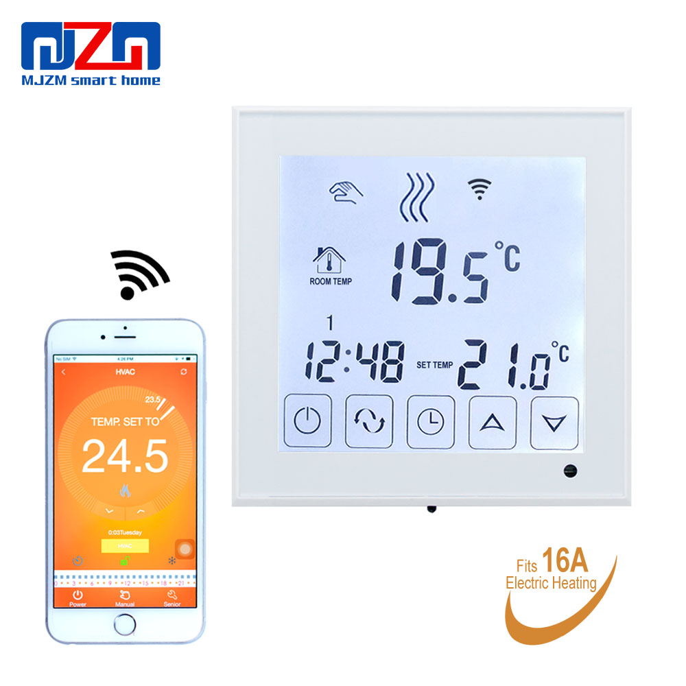MJZM 16A03 1BB WiFi Electric Heating Thermostats Smart System APP Control Home Thermoregulator White Temperature Controller