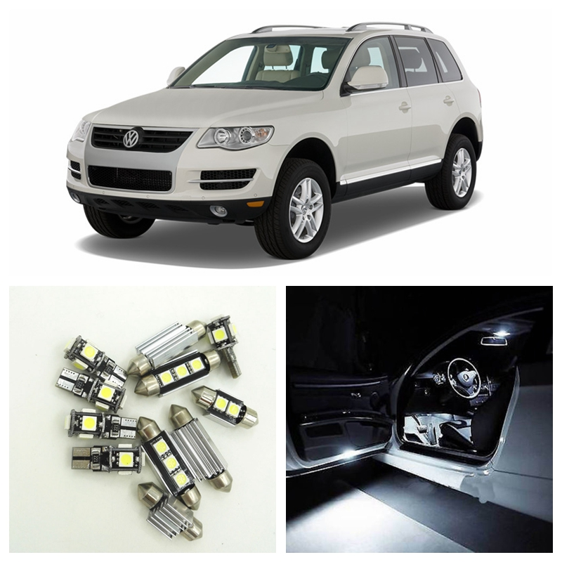 16pcs No Free Car Canbus LED White Light Bulb Interior Package Kit For 2005-2010 VW Volkswagen Touareg Map Dome Trunk Door Lamp цены онлайн