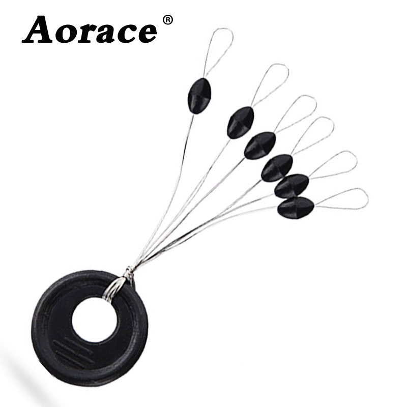60Pcs 10Groups/Set Fishing Bobber Float Fishing Line Accessories 6 In 1 Black Oval Rubber Stopper Space Bean Connector