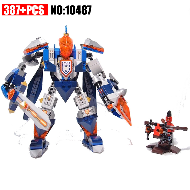 10487 387PCS+ Nexus Knights King's Mech Building Blocks DIY educational Bricks Compatible with 70327 Toys for Children
