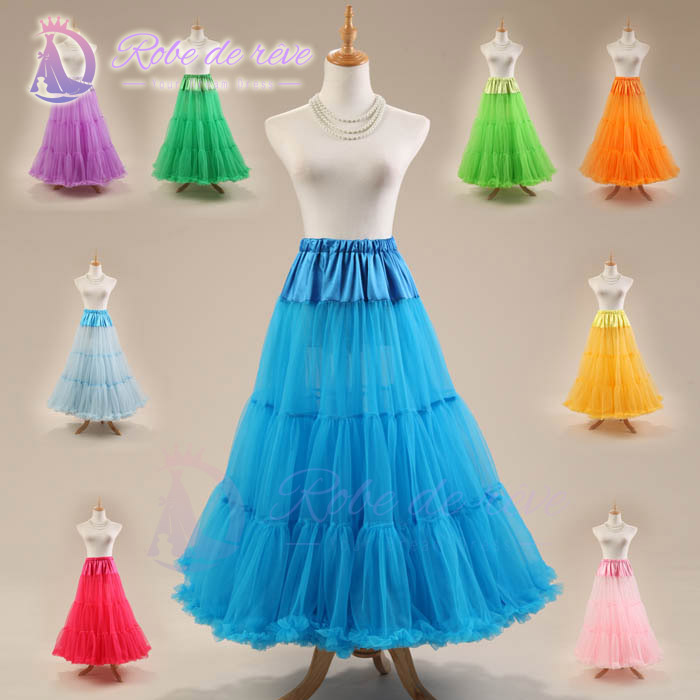 Floor-Length Colored Petticoats Underskirt Frill Edge Deep Green Navy Blue Sky Blue Red Blushing Pink