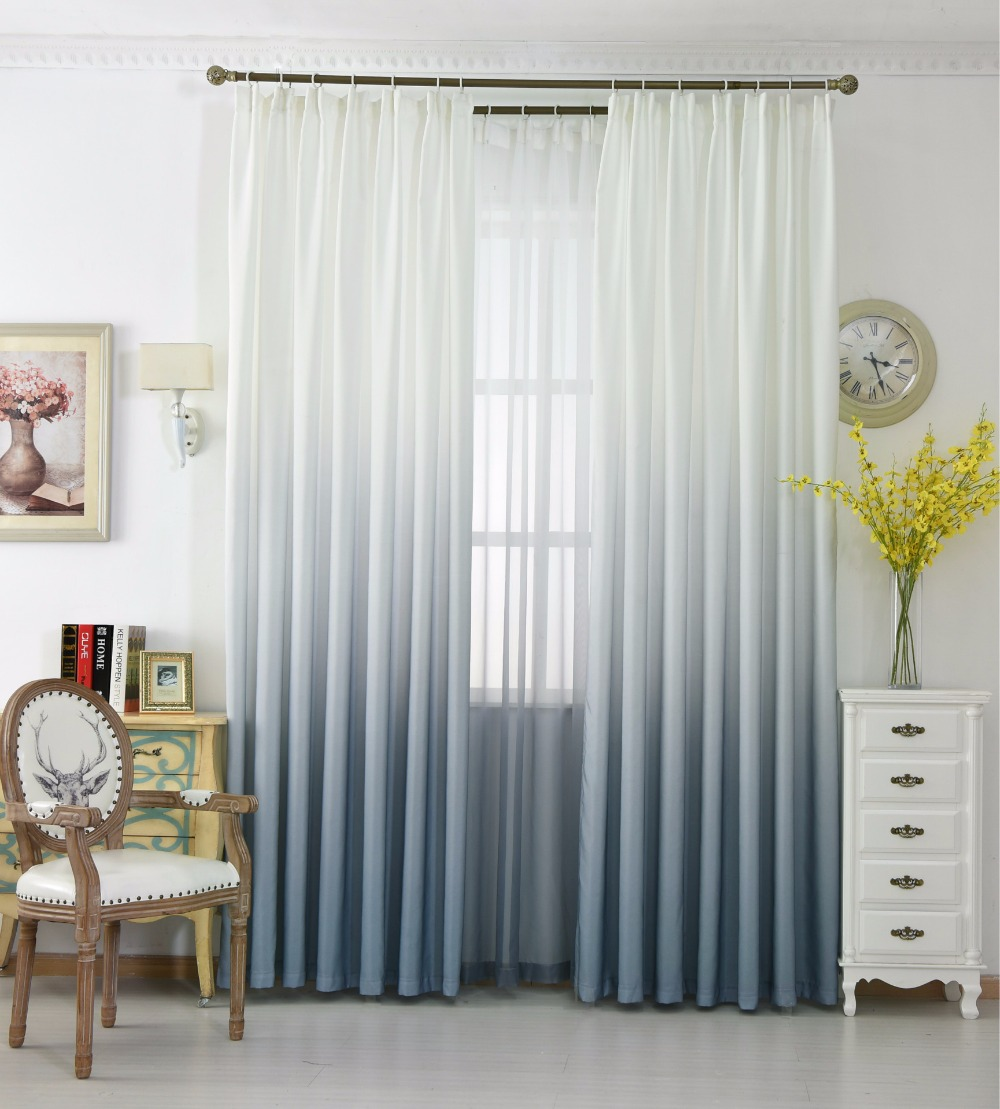 Grey Gradient Color Curtains for Living Room Cotton Drapes For ...