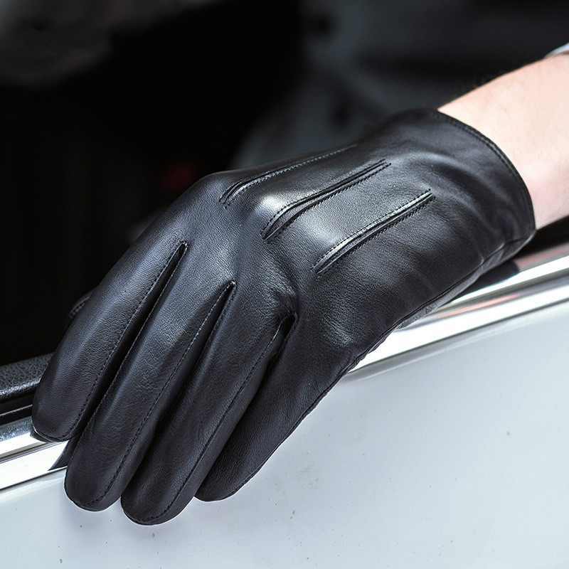 Winter Genuine Leather Gloves Men's Sheepskin Warm Black Mittens European Business Fashion Touch Screen Male Hand Muff H3223