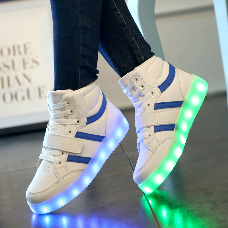 TUTUYU Glowing Sneakers Kids Luminous Sneakers Colorful Boys Shoes LED Lights Children Shoes Casual Flat Girls Boy Shoes LX-887 25 40 size usb charging basket led children shoes with light up kids casual boys