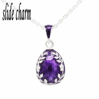 slide charm Free shipping Purple Enamel Easter Russian Egg Pendant Necklace With Rhinestone Jewelry Multicolor Gift To Girl Girl