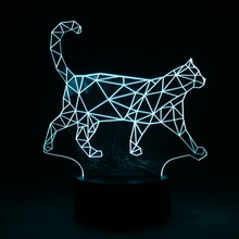 Creative 3D Walking Cat Changable Color LED Nightlight Pmma Illusion Night Lamp USB Bedroom Decor Light with Touch Button