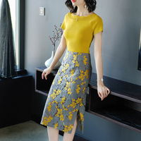 Women's crop tops lace pack hip skirt suits 2018 summer female yellow slash neck tops+high waist skirt two piece sets