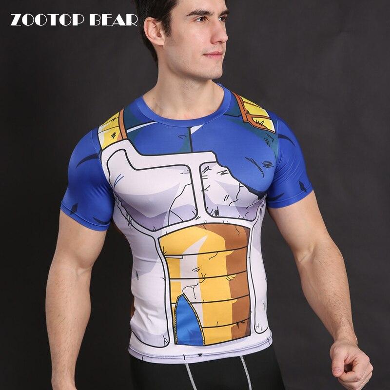 Dragon Ball Shirt Vegeta Cosplay Anime Clothing Men Compression Tights T Shirts Tops Fitness Goku Costume ZOOTOP BEAR