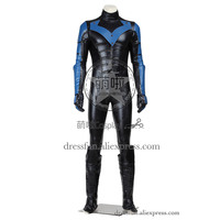 Batman Arkham City Косплэй костюм Nightwing Дик Грейсон костюм черный и синий комбинезон тонкий наряды форма Быстрая доставка