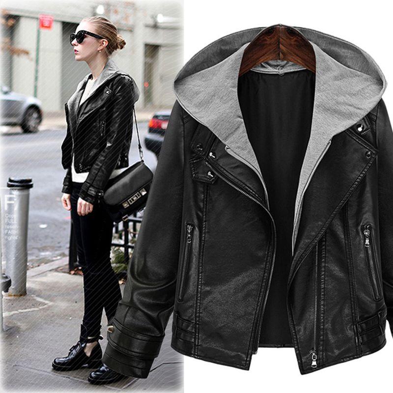 QMGOOD 2018 Autumn Winter Black Hooded PU   Leather   Jacket Female Faux   Leather   Coat Slim Moto & Biker Short Jacket Women Plus Size