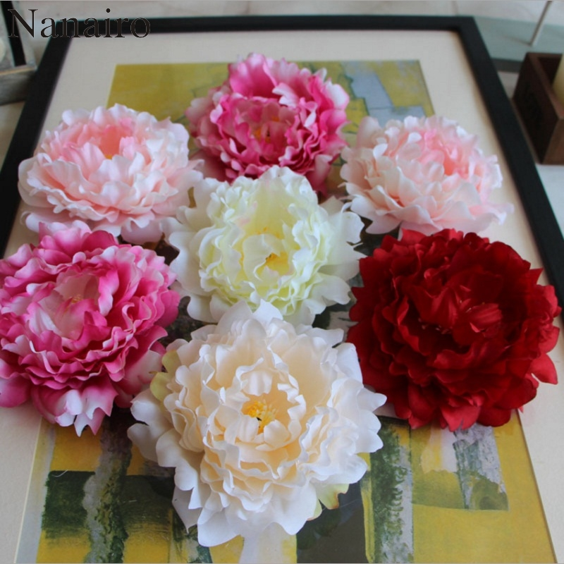 5 шт., искусственные большие шелковые цветы пиона, 14 см