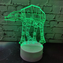 Ashoni Star Wars 3D Lamp Bedroom Table Lamp Night Light Acrylic Panel USB Cable 7 Colors Change Touch Base Lamp Kids Gift Toy недорого