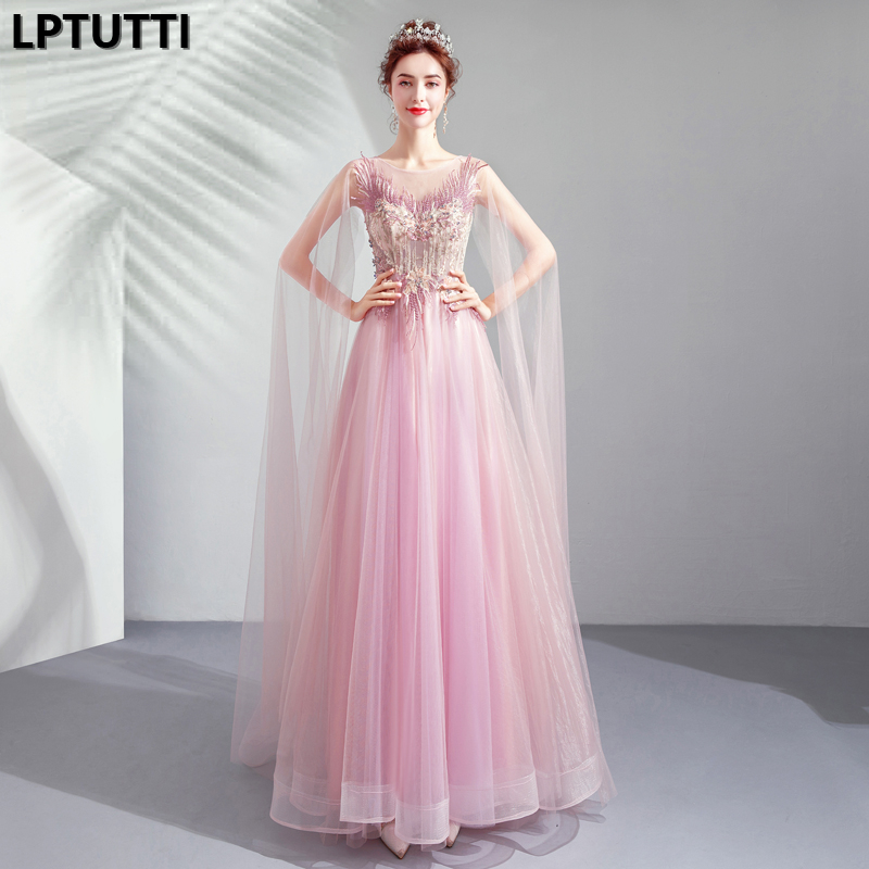 LPTUTTI Crystal Embroidery New For Women Elegant Date Ceremony Party Prom Gown Formal Gala Events Luxury Long   Evening     Dresses