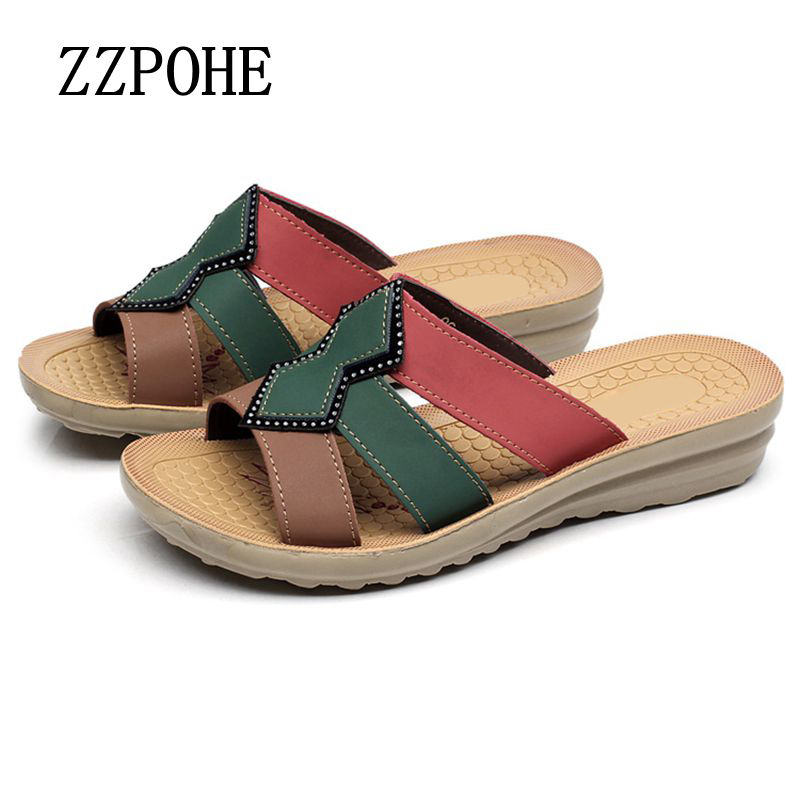 ZZPOHE Summer mother slippers PU leather soft large size pregnant women slippers flat grandmother comfortable Woman slippers new arrival star same paragraph woman slippers summer plus size comfortable attractive sapatos hot sales soft tenis feminino