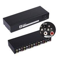 8 Ports 1 In 8 Out 8 ways 3 RCA AV Audio Video Splitter Amplifier Box for TV Box HDTV DVD Switch Switcher Selector Splitter