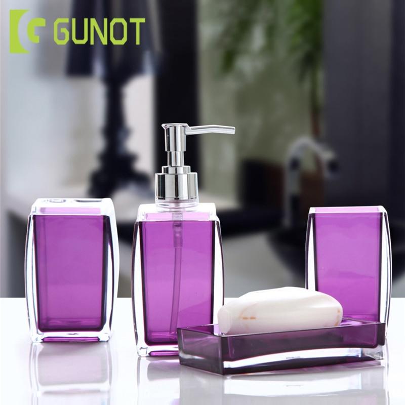 4PcsSet:  GUNOT 4Pcs/Set Simple Acrylic Solid Color Bathroom Set Soap Dispenser/Toothbrush Holder/Tumbler/Soap Dish Bathroom Wash Products - Martin's & Co