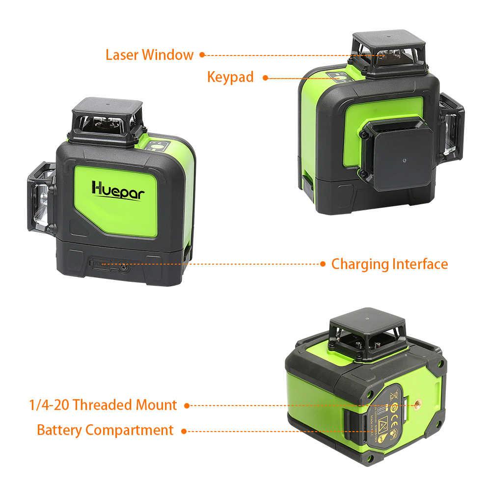 Huepar 12 satır 3D çapraz çizgi lazer seviyesi yeşil lazer işın kendinden tesviye 360 dikey yatay dijital LCD lazer alıcısı