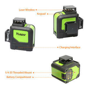 Image 4 - Huepar láser de línea cruzada 3D, 12 líneas, nivel verde, autonivelante, 360, Vertical, Horizontal, con receptor láser LCD Digital