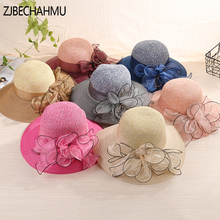 ZJBECHAHMU Fashion New Vintage ladies summer hats with brim new brand straw for women Girl  beach sun floppy sunhat,