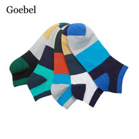 Goebel Man Stripe Socks Stitching Color Comfortable Men Fashion Socks Breathable Sweat Absorb Male Short Tube