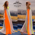 2016 Boho Sexy Women O Neck Sleeveless Gradient Multicolor Dress Long Maxi Party Beach Dress Vestidos Robe Plus Size S-XL