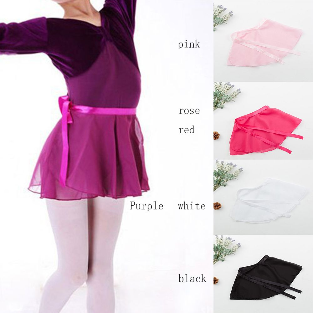 Kids Girls Ballet Dance Skirt Basic Classic Chiffon Pull-On Wrap Mini Skirt With Waist Tie Costume For Performance Dancing Wear