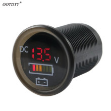 OOTDTY DC 12V/24V Car Boat Voltmeter Battery Monitor IP67 Waterproof LED Voltage Gauge