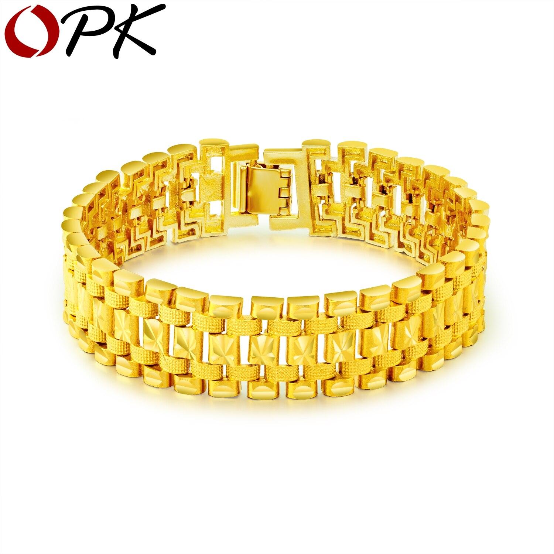 OPK 2018 mode hommes Bracelet mâle main chaîne lien or couleur cuivre bijoux 38G lourd Bracelet Pulseira Masculina cadeau KS993