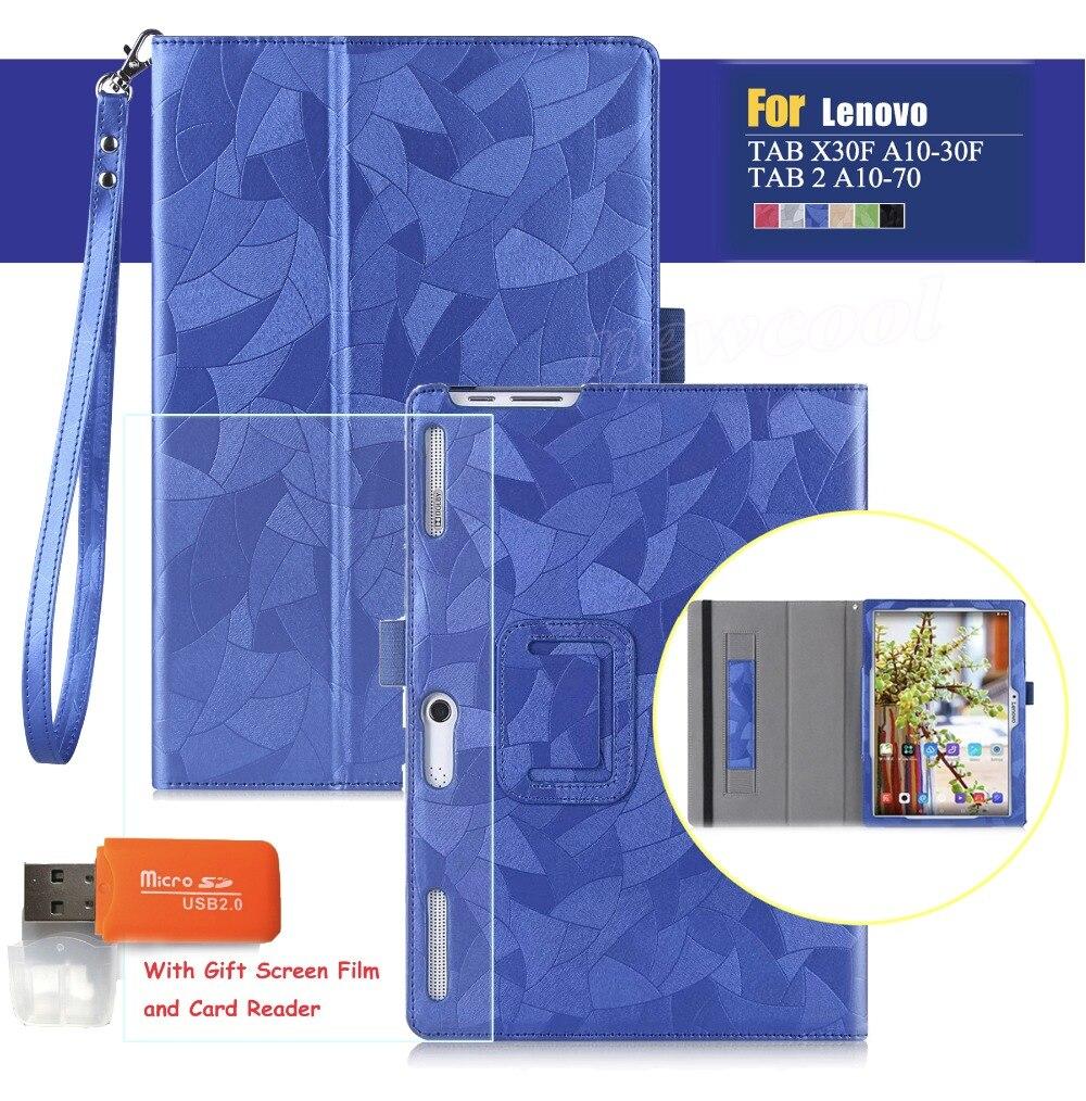 TAB3-X70F Étui En Cuir Flip Couverture Pour Lenovo Tab 2 Tab2 A10-30F A10-70 A10-30 X30 x30f Tablet Cas pour tab3 10 TB3-X70L TAB-X103