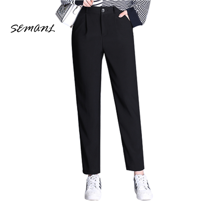 2018 Spring New Fashion Ladies Harerm   pants   Full   Pant   Black Casual Pencil Women Trouser Cotton High Waist   Capris   Plus Size 3XL
