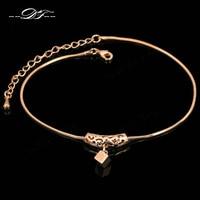 Double Fair Cube Drop Foot/cheville Chain Anklets Bracelets Rose Gold Color Fashion Vintage Jewelry For Women Wholesale DFA030