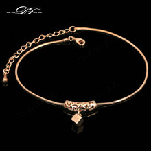 Double Fair Cube Drop Foot/cheville Chain Anklets Bracelets Rose Gold Color Fashion Vintage Jewelry For Women HotSale DFA030(China)