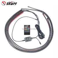 Skuer 4pcs Car RGB LED Strip Light Under 8 Colors Tube Underbody System Neon Chassis Light