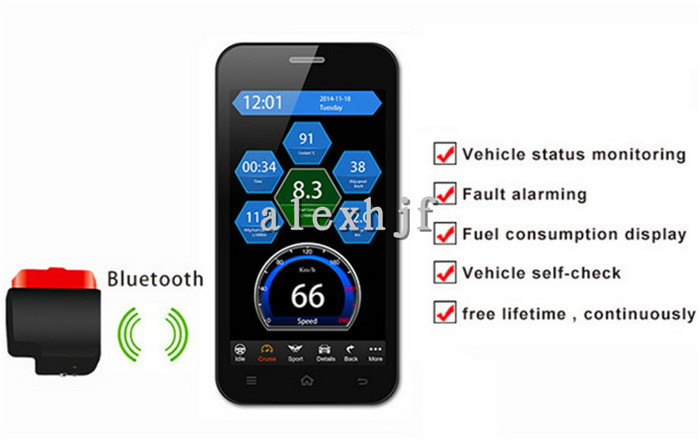 ФОТО Car Bluetooth OBD Computer Tester Detector Can Acquire Vehicle Condition & Various of Real-time Warning on IOS Mobile Phone