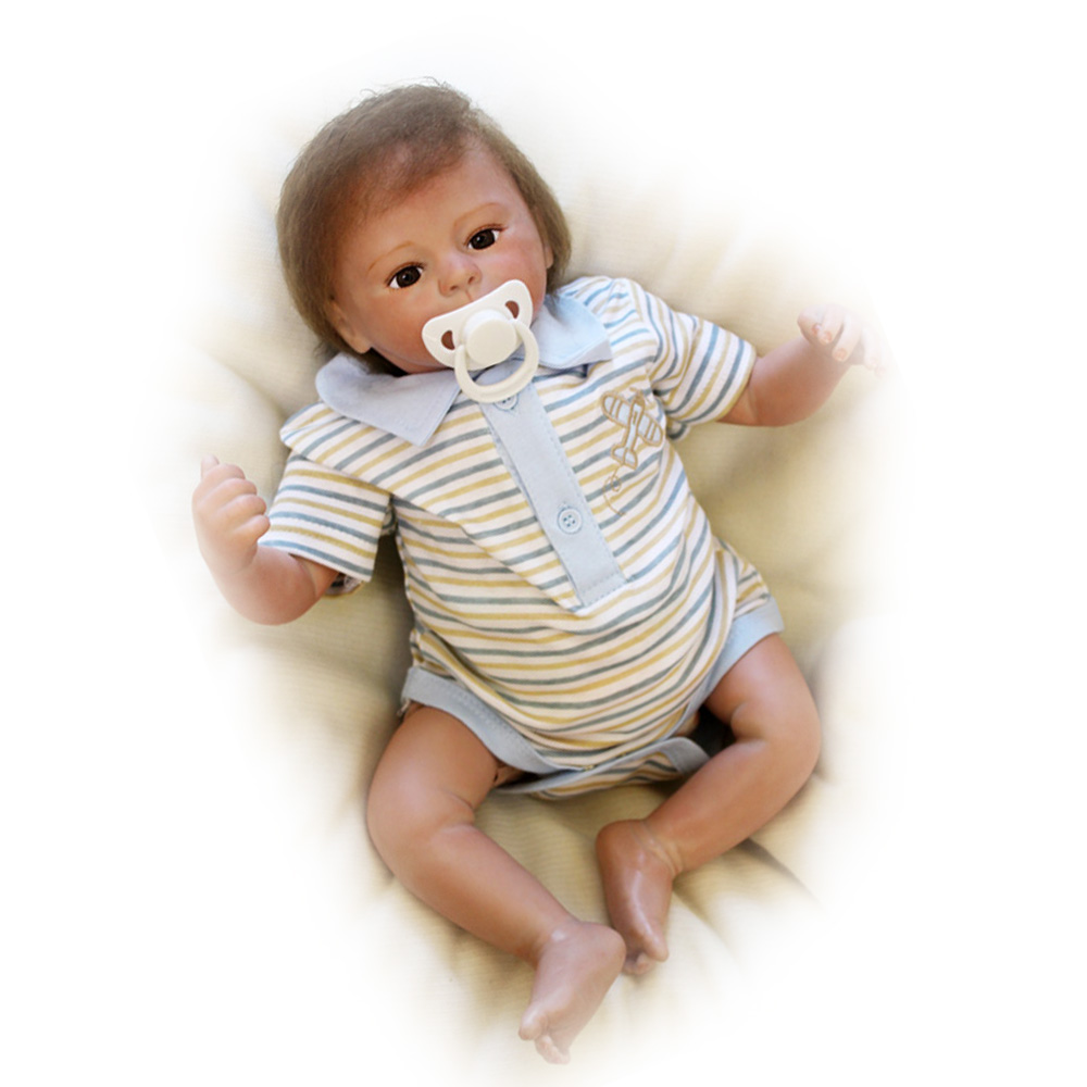 50-55CM Silicone Doll Reborn Baby boy Lovely realistic high quality Handmade Cloth Body Doll Toys Baby Growth Partners Best Gift partners lp cd