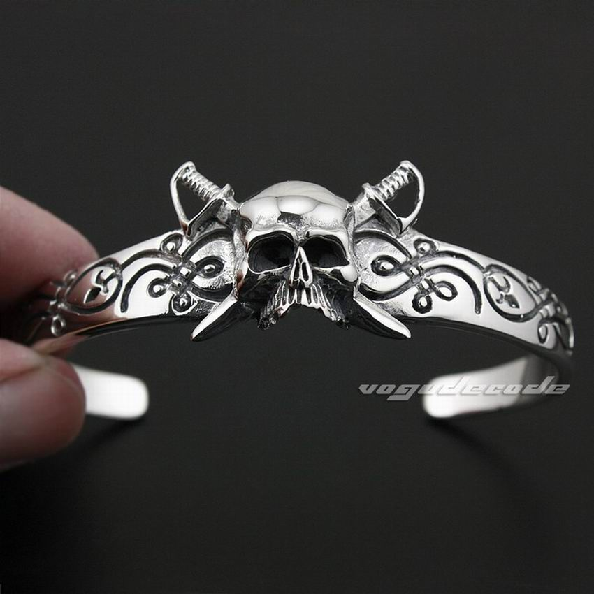 Solid 925 Sterling Silver Skull Pirate Mens Biker Rocker Bracelet Bangle 9A008 solid 925 sterling silver flower fashion charm biker bracelet bangle 9a017