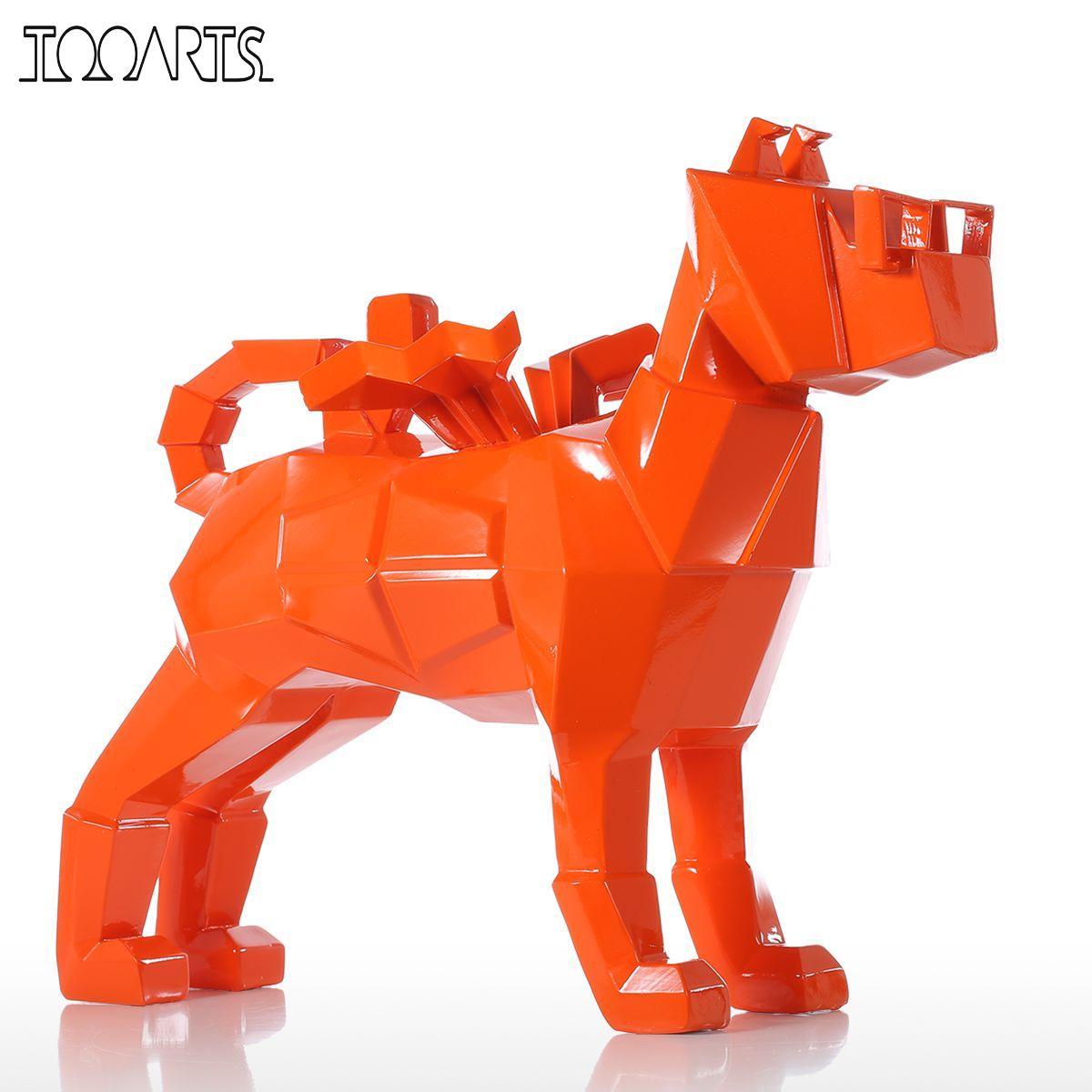 Tooarts Tomfeel Glasses Dog Figurines Orange Small Size Resin Sculpture Home Decor Modern Art Figurine Animal Statue Fiberglass Скульптура
