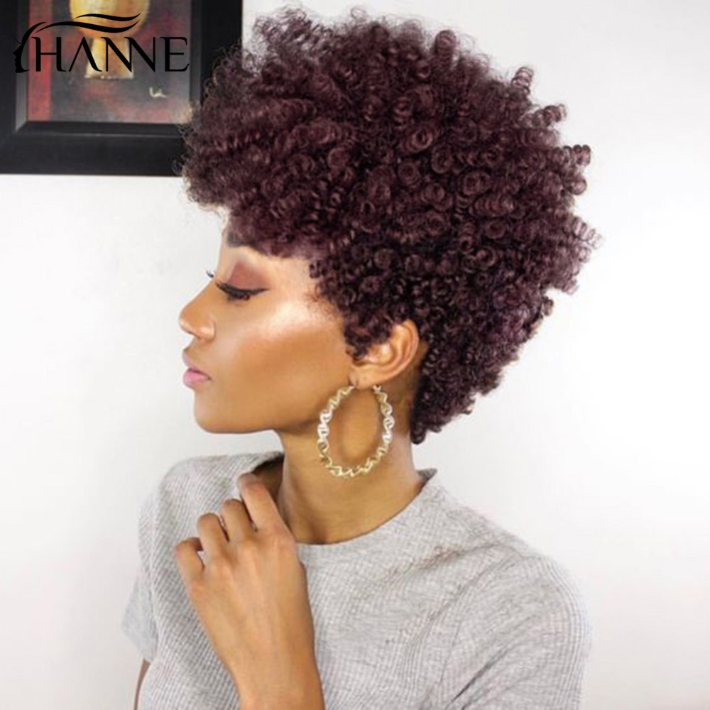 HANNE Hair Virgin Short Afro Wig Curly for Black Women Malaysian Hair 1B#/99j/2# Color Avaliable Free Eyelashes gifts