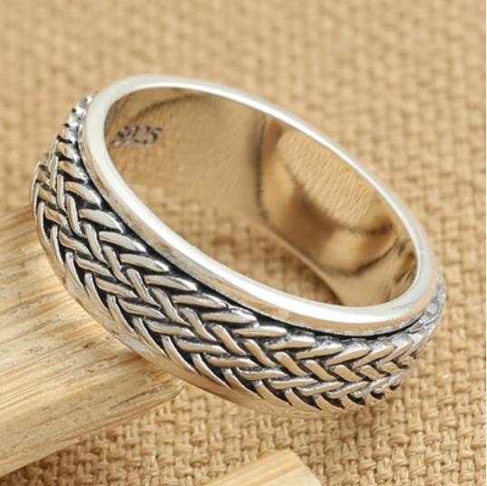 925 sterling silver ring for men Vintage  vintage Thai silver fortune ring men braided twist simple rotating rings