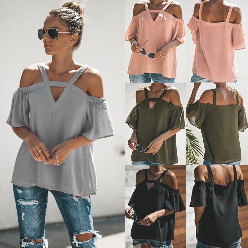 Women Off Shoulder Tops Blouses V Neck Short Sleeve Loose Tops Summer Top Blouse Women Clothing