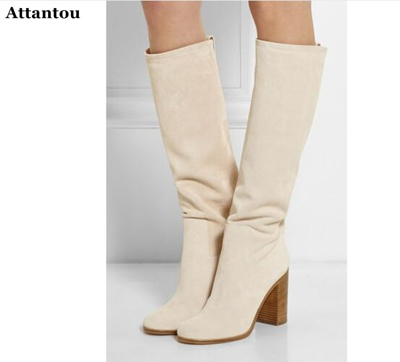 fall boots for woman chunky high heels long boots beige white suede knee high gladiator boots plus size 42 free shippingfall boots for woman chunky high heels long boots beige white suede knee high gladiator boots plus size 42 free shipping