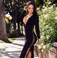 Hot Sexy Deep V-neck Slit Nightclub Bandage Dress Womens Party Dresses Bodycon Slim Hips Night Club Wear Vestidos
