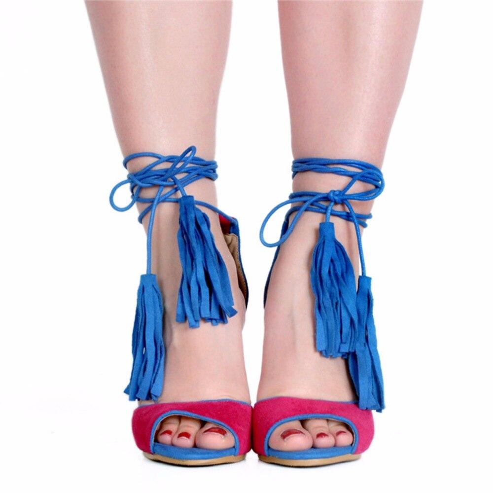 Новые повседневные платья Стиль женские Handicrafted босоножки на высоком каблуке с бретельками и бахромой из натуральной кожи с открытым носком Выходные туфли на выпускной бал обувь на выход обувь для похода по магазинам A120 - 2