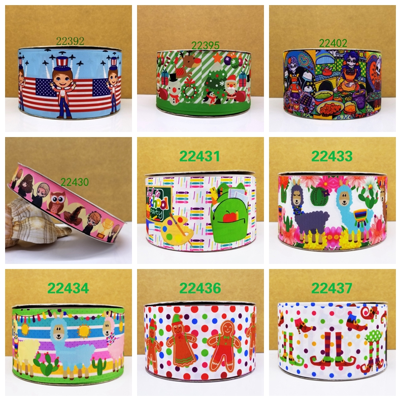 Free shipping 50 yard cartoon printed grosgrain ribbon 21929