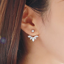 Crystal Rhinestone Flower Stud Earrings For Women Girls Rose Gold Silver Color Alloy Female Earring Fashion
