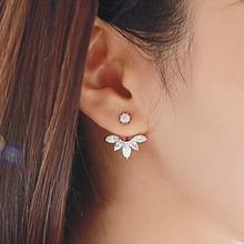 Cubic Zirconia Flower Stud Earrings For Women Girls Rose Gold Silver Color Alloy Female Small Earring