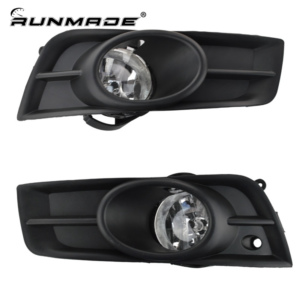 runmade For 2009-2011 Chevy Cruze Front Bumper Side Fog Light + Grill Set 12V 35W Halogen Bulbs set j40 black steel different trail front bumper w winch plate