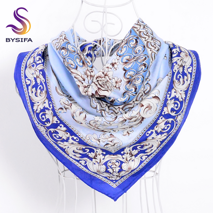 [BYSIFA] Blue White Silk Scarf Ladies Shawl Chinese Style Classic Flowers 100% Silk Twill Square Scarves Wraps For Spring Autumn