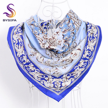 [BYSIFA] Blue White Silk Scarf Ladies Shawl Chinese Style Classic Flowers 100% S